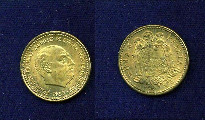 SPAIN  1953 (54)  1 PESETA COIN, UNCIRCULATED, SCARCE DATE!