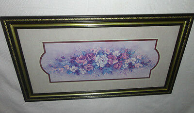 Home Interiors '' Swag of Roses'' Picture  Hang H or V  15'' x 27.5''
