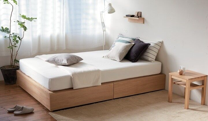 promo code 158f9 a6fc2 Beautiful MUJI Oak Storage double bed and mattress less than a year old |  in Bethnal Green, London | Gumtree