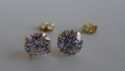10K SOLID YELLOW GOLD STUD EARRINGS / W .50 CT DIAMONDS/STUNNING LOOK