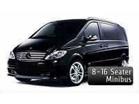 8 and 16 seater minibuses. Call today to save 30% on minibus hire with driver with pro minibuses.