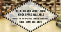 Kiosk and Pop-Up Store Space Available for Weekends, Short-Term