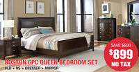 Boston 6pc Queen Bedroom Set, $899 Tax Included!