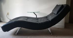 Black Deluxe Adjustable Lounger/Sofa Piveting Glass Table, Mint
