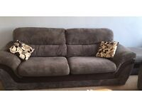 Grey 3 seater and 2 seater sofa with foot stool