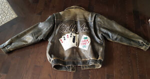Leather Motorcycle  Bomber Jacket with Leather Patches