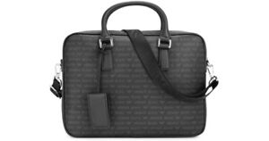 ARMANI JEANS Monogrammed Faux LEATHER Briefcase - Authentic