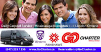 Charter Service to & from GTA - London, Ontario Sep-Dec 2017