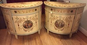 Beautiful hand painted antique credenzas