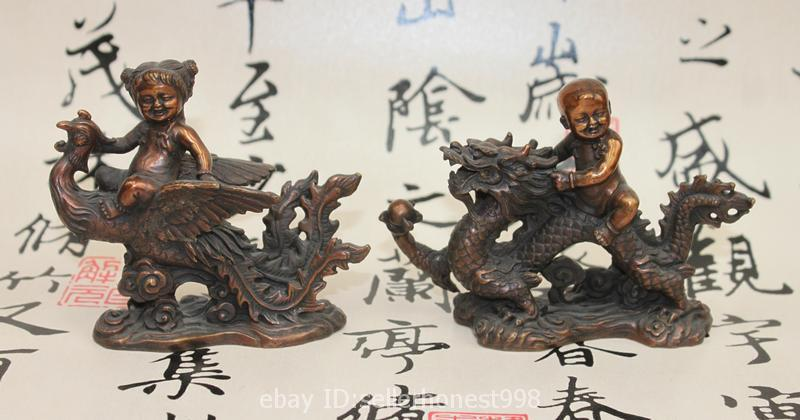 Chinese fengshui Bronze Boy Girl Ride Dragon Phoenix Auspicious Statue