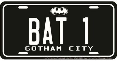 BAT 1 GOTHAM CITY BATMAN EMBOSSED METAL NOVELTY LICENSE PLATE TAG - City Novelties
