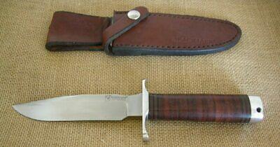 Blackjack Classic Model #5 Fixed Blade Knife, Stacked Leather Handle, Knifeware,