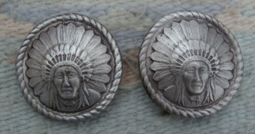 Silver 2 In. Chief Loop Back Conchos for Horse Bridle Spur Straps