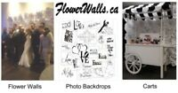 Flower Walls, Photo backdrops, Candy Carts Rental