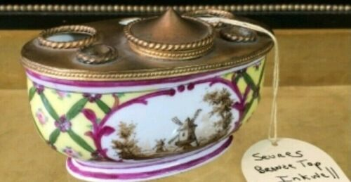 ANTIQUE FRENCH SEVRES HAND PAINTED PORCELAIN & BRONZE INKWELL SIGNED Late 19th C