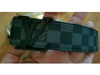 Louis Vuitton Graphite Damier Belt with matt black buckle