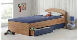 Malibu blue and pine single bed
