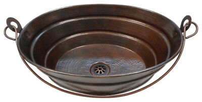 "16"" x 12"" Rustic Oval Copper BUCKET Vessel Bath Sink with Da"