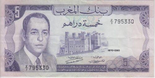 Morocco Banknote P56r-5330 5 Dirhams 1970 Replacement, Prefix Z/3, VF