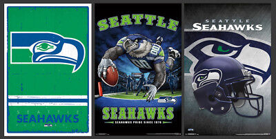 SEATTLE SEAHAWKS 3-POSTER COMBO - Retro, Modern, Theme Art Logo Posters