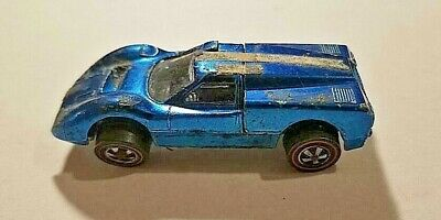 "1968 ORIGINAL MATTEL HOT WHEELS FORD J-CAR ""RED LINE"" (BLUE) USA SHARP RARE CAR!"