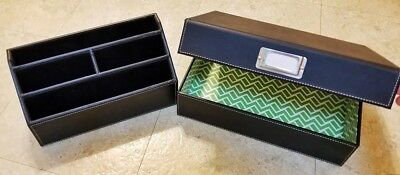 Desk Organizer Black Leather Set