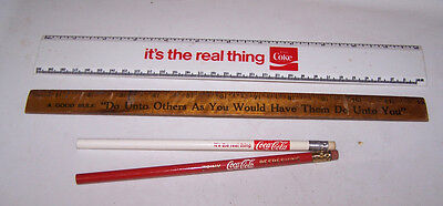 Vintage COCA COLA Lot 2 Pencils and 2 Rulers