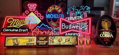 Antique Bar Neon Signs Fun For Business Home Budweiser Michelob Corona Etc