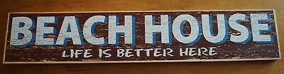 "BEACH HOUSE SIGN Rustic Red White Blue Nautical Wood Coastal Home Decor 28"" NEW"