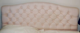 Padded headboard for double bed - very pale pink/peach