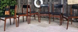 6 Danish Mid Century Modern Solid Teak Erik Buch Dining Chairs – Excellent Condition - $165 per chair