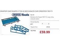 DRAPER CAR RAMPS 2 TON & MECHANICS CAR CREEPER 783171