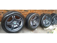 """4 x 17"""" BMW Style 68 Staggered Alloy Wheels with Tyres (E46 E90 320 325 330, E60 520 525 530 535)"""