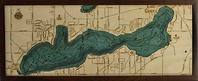 "GENEVA LAKE, WI 13.5"" x 31"" New, Laser-Cut 3-Dimen Wood Chart / Lake Art Map"
