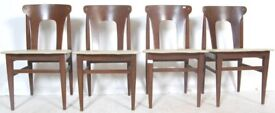FREE DELIVERY A Set of 4 Vintage Mid Century 1950s Stained Teak Dining Chairs