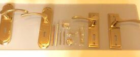2x Solid Gold Brass Door Handles, Brand New!!