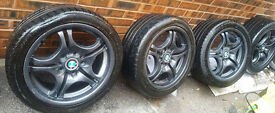 """4 x 17"""" BMW Style 68 Staggered 5x120 Alloy Wheels with Tyres (E46 E90 320 325 330, E60 520 530 535)"""