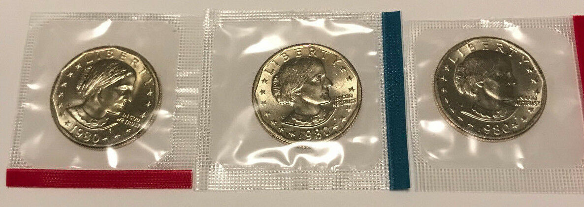 Купить 1980 P D S Susan B Anthony Dollars BU in US Mint Cello - 3 Coin Uncirculated Set