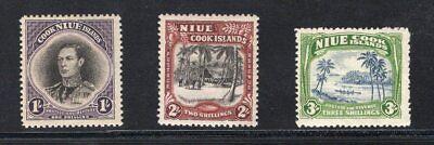 1938 Niue. SC#73-75. SG#75-77. Mint, Lightly Hinged, FVF.