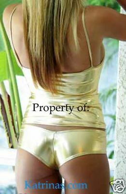 Gold Cheeky Hipster Booty Shorts/Metallic/Stripper/Dancer/Rave/Made in usa/s-m - Metallic Booty Shorts