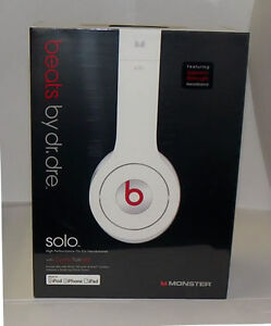 NEW-Monster-Beats-129442-WHITE-SOLO-By-Dr-Dre-On-Ear-Control-Talk-Headphones