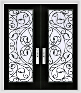Door Glass inserts  Stained glass wrought iron Glass doors