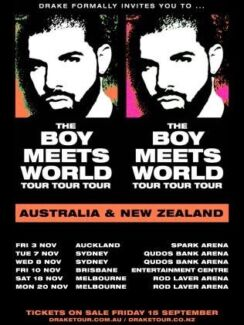2x Drake Sydney Tickets Standing $400 Total