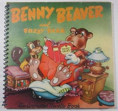 (BENNY BEAVER AND FUZZY BEAR 1945 JOHN MARTIN'S HOUSE ANIMATED POPUP SPIRAL BOUND)
