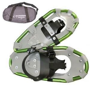 Backwoods snowshoes kids  size 17 holds up to 100lbs in lime