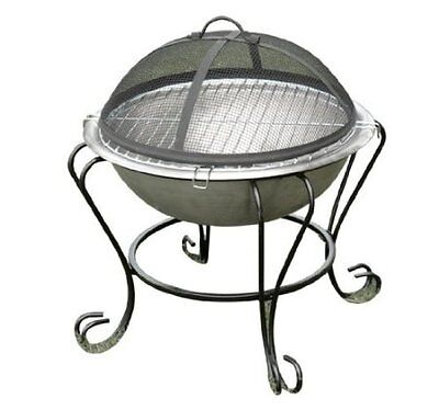 "Outsunny 18"" Outdoor Patio Mini Round Fire Pit Backyard Stainless Steel Firepit on Rummage"