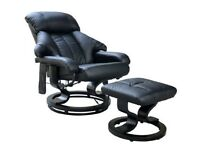 Leather Massage chair heat and foot stool