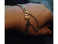 9ct Gold Bracelet, Unusual Clasp, Safety Chain