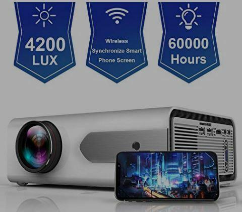 HOLLYWTOP HD Mini Portable Projector 2800 Lux WiFi Wireless