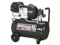 Sealey SAC5030VE Compressor 50ltr V-twin Direct Drive 3hp TWIN PUMP